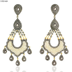 Diamond Studded Chandelier Earrings