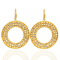Diamond disk shaped earrings set