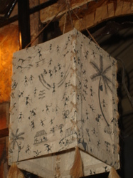Warli Design Lamp-Square