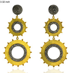 18k Gold Diamond Drop Earring