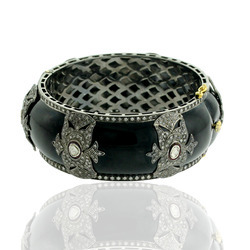 Diamond Enamel Cuff Bracelet Bangle Jewelry