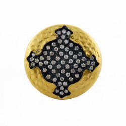 Pave diamond hammered Gold ring
