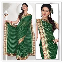 Harmonic Deep Green Viscose Saree With Blouse (202)