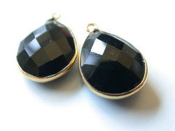 Black Spinel Faceted Pear Briolettes Vermeil Connector