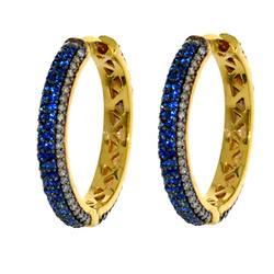 Blue sapphire Hoop Earrings set