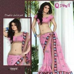 Pink Border Saree