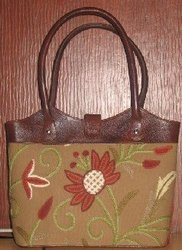 Crewel Handbag Marigold Coffeehot Cotton