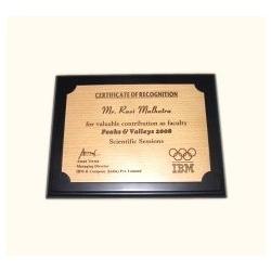 Award Certificate Plaque