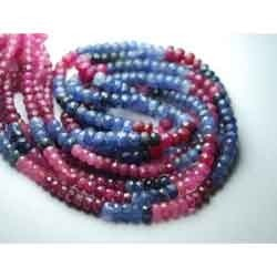 Sapphire And Ruby Faceted Rondelles