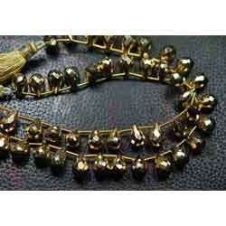 Gold Pyrite Faceted Drops Briolettes