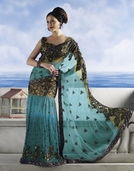 sareegalaxy - Light Sky Blue Net Lehenga Style Saree with Blouse