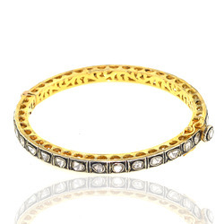 Rose Cut Diamond Gold Bangle Jewelry
