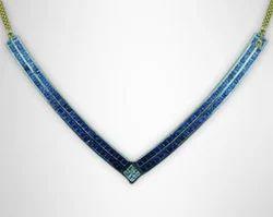 Diamond & Blue Sapphire Necklace