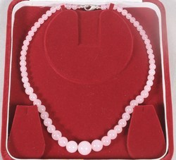 Pink Quartz (Rose) Round Beads Necklace