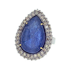 Blue Sapphire Carving Diamond Rings