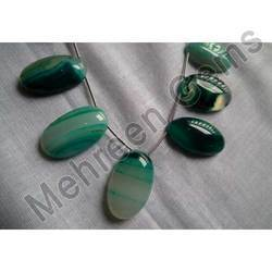 Green Chalcedony Smooth Textures Oval Briolette