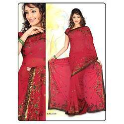 Blood Red Color Saree