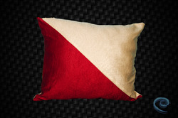 Cushion Cover With Cream And Red Half And Half Combination