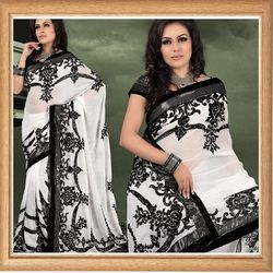 White Faux Georgette Saree With Blouse