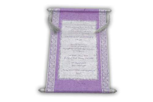 Purple Color Birthday Scroll Invitation
