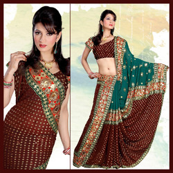 Rich Maroon Viscose Saree With Blouse (142)