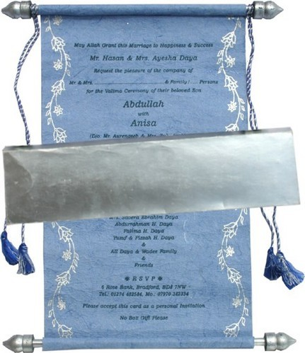 Handmade Paper Scroll Invitation