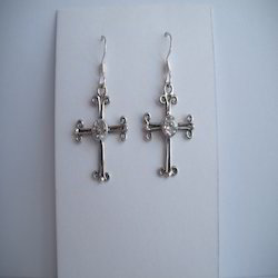 Holy Cross Silver Earrings
