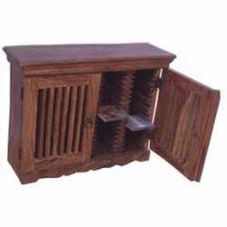 Wooden Mesh Door Shelf CD Rack