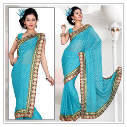 Heavenly Sky Blue Viscose Saree With Blouse (212)