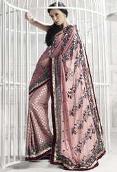sareegalaxy - Coral Brasso Saree with Blouse