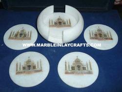 Marble Tea Coaster with Taj Mahal