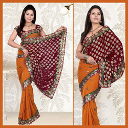 Deep Orange Faux Georgette Saree With Blouse (117)
