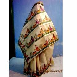 Cream Madhubani Saree