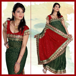 Lush Deep Green Viscose Saree With Blouse (146)