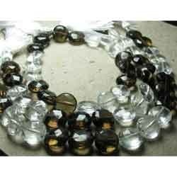Rock Crystal And Smoky Quartz Faceted Coin Briolettes