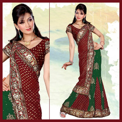 Green And Maroon Faux Georgette Lehenga Style Saree (139)
