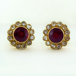 Ruby Studded Gold earrings