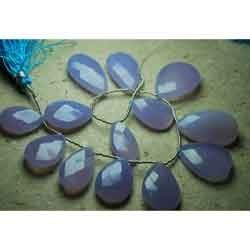 Lavender Chalcedony Faceted Large Pear Briolettes