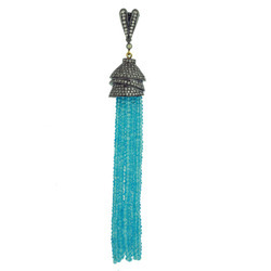 Blue Topaz Diamond Tassel Pendants