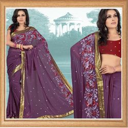 Purple Faux Georgette Saree With Blouse