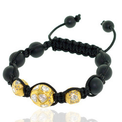 18k Gold Diamond Bead Shamballa Bracelet Jewelry