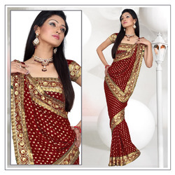 Royal Maroon Viscose Saree With Blouse (196)