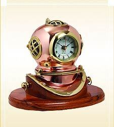Divers Helmet With Clock On Wood Base