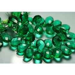Emerald Green Quartz Faceted Pear Shape Briolettes