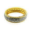 Double Row Diamond 14k Yellow Gold Bangle