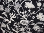 Crewel Fabric Chelsea White on Black Cotton Duck