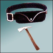 Leather Belt with Pouch & Fire Man Axe