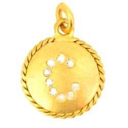 gold charm alphabet c pendant