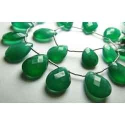Emerald Green Onyx Faceted Pear Briolettes