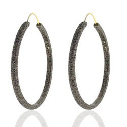 14k Gold Black Diamond Hoop Earrings